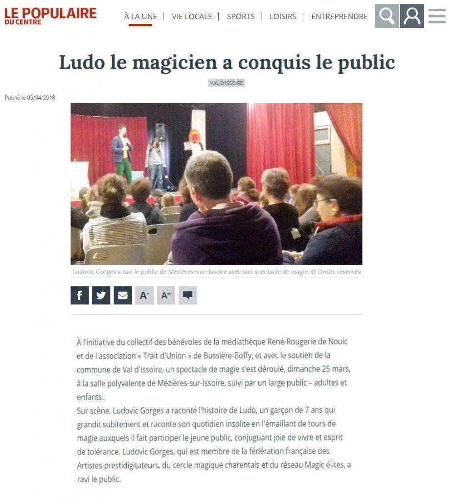 Magicien spectacle enfants Limoges Poitiers Angoulême